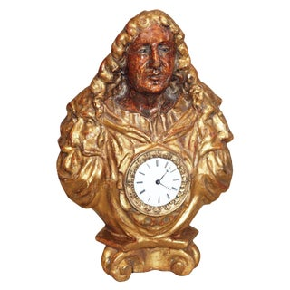 Giltwood and Polychrome Bust with Clock For Sale