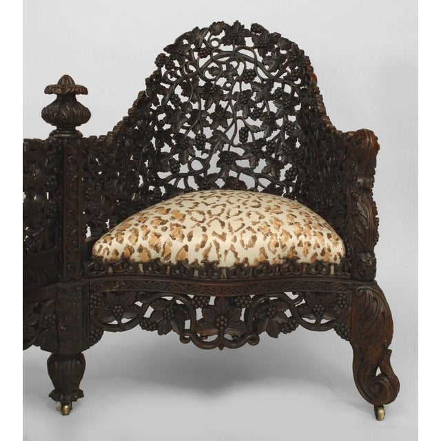 Rosewood Asian Burmese Style Carved and Filigree Rosewood Tete a Tete For Sale - Image 7 of 8