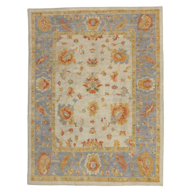Textile Contemporary Turkish Pastel Oushak Rug - 9′3″ × 12′3″ For Sale - Image 7 of 7