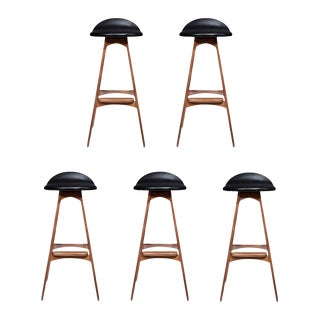 Boyd Walnut Stools - Set of 5 For Sale