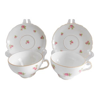 Victoria Czechoslovakia Antique Porcelain Rose Porcelain Cups and Saucers - Service for 2 For Sale
