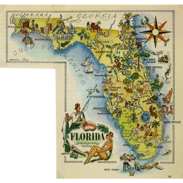 Vintage 1946 Florida Pictorial Map Frame-Ready For Sale