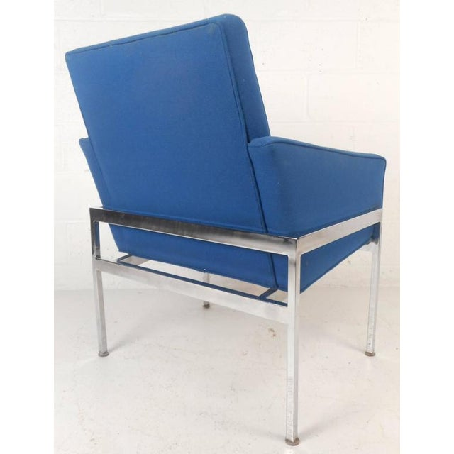 Chrome Mid-Century Modern Chrome Frame Tufted Lounge Chairs - A Pair For Sale - Image 7 of 11