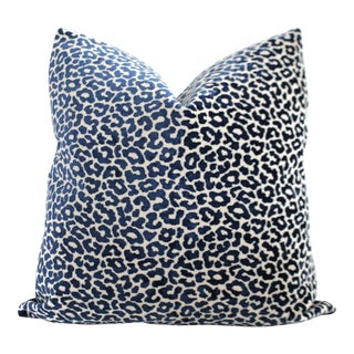 "20"" x 20"" Schumacher Timothy Corrigan Blue Velvet Leopard Pillow Cover"