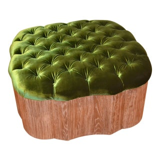 Boho Chic Tufted Green Velvet Cocktail Ottoman For Sale
