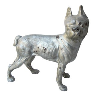 1930s Vintage Cast Iron Boston Terrier Doorstop / Figurine For Sale