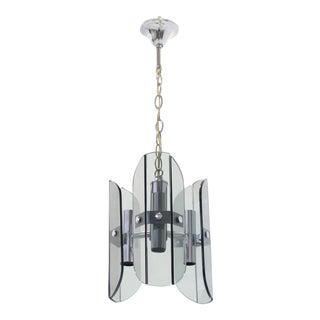 Veca Smoked Glass Chrome Light Fixture Pendant Chandelier For Sale