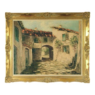 1930s Vintage Framed Village in Provence French Oil on Canvas Painting For Sale