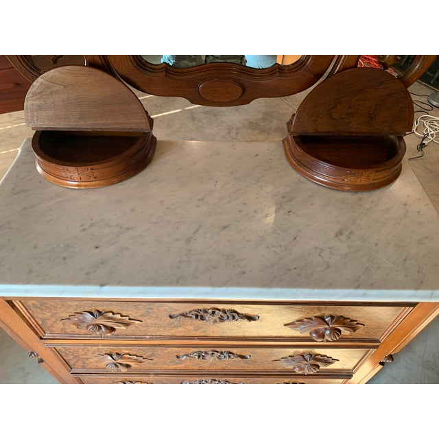 Late 1800's Victorian Carved Mahogany White Marble Top Dresser With Tilt Mirror For Sale - Image 12 of 13