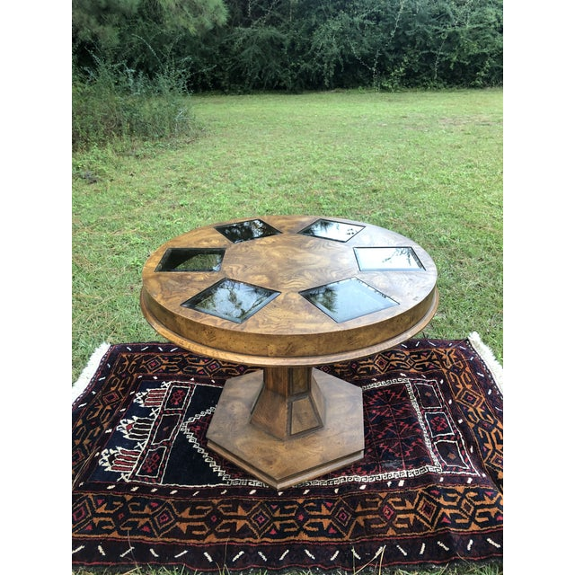 Mid Century Burlwood Pedestal Table With Inset Smoked Glass For Sale - Image 9 of 12