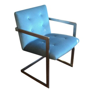 Milo Baughman Style Flat Bar Chrome Chair For Sale