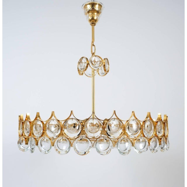 Brass Palwa Gold Brass and Glass Large Chandelier Ceiling Lamp, 1960 For Sale - Image 7 of 10
