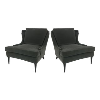 "Pair of Tomlinson ""Sophisticate"" Velvet Lounge Chairs For Sale"