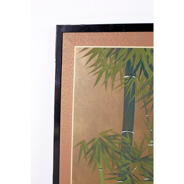 Japanese Four Panel Screen Quail in Flower Bamboo Landscape For Sale In San Francisco - Image 6 of 13