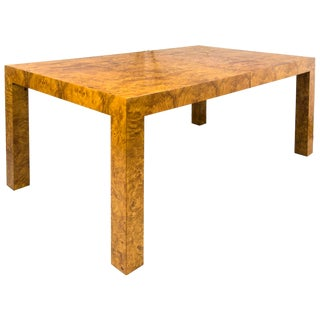 1960s Milo Baughman Burl Wood Dining Table With Two Leaves For Sale