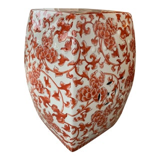 Red & White Ceramic Garden Stool For Sale