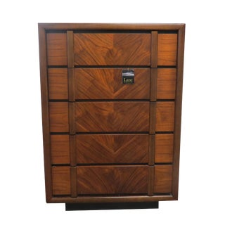 20th Century Art Deco Lane Furniture Company Rosewood and Walnut 5-Drawer Dresser For Sale