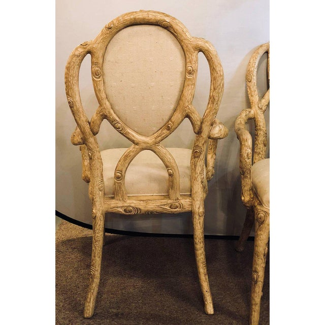 White Hollywood Regency Style Tree Trunk Form Designed Arm / Desk Chairs - a Pair For Sale - Image 8 of 14