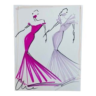"""""""Fuchsia and Lilac Evening Gown Duo"""" Original Christian Siriano Sketch For Sale"""