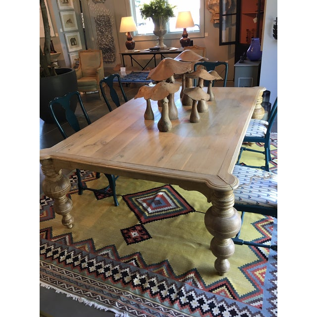 """Antique wooden Egyptian """"Boule"""" dining table. Large turned and tapered ball legs. H.29.5"""" x w.86"""" x d.58"""""""