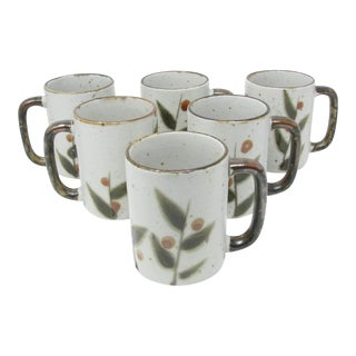 Vintage Otagiri Bittersweet Stoneware Mugs With Berry Leaves Design - Set of 6 For Sale