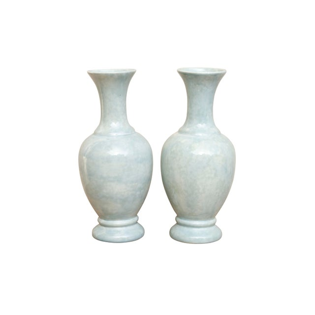 Ceramic Vases in Pastel Mint, a Pair For Sale In New York - Image 6 of 6