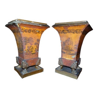 Pair of Empire Tole Peinte Cache Pots For Sale