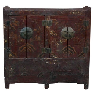 Antique Painted Chinese Buffet Cabinet