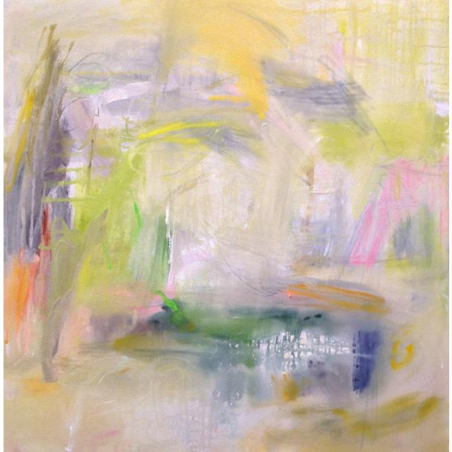 "Green Large Abstract Painting by Trixie Pitts ""Misty Morning"" For Sale - Image 8 of 8"