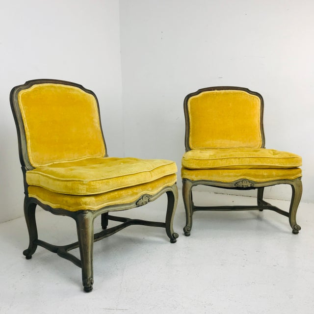 Pair of armless slipper French chairs