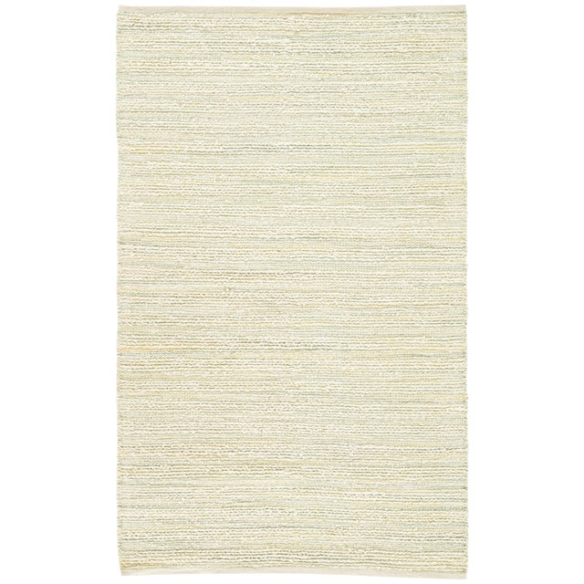 "Jaipur Living Canterbury Natural Stripe White & Green Area Rug - 2'6"" X 4' For Sale"
