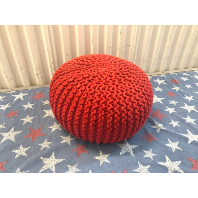 Phenomenal Vintage Flame Red Retro Knitted Crochet Foot Stool Pouf Cjindustries Chair Design For Home Cjindustriesco