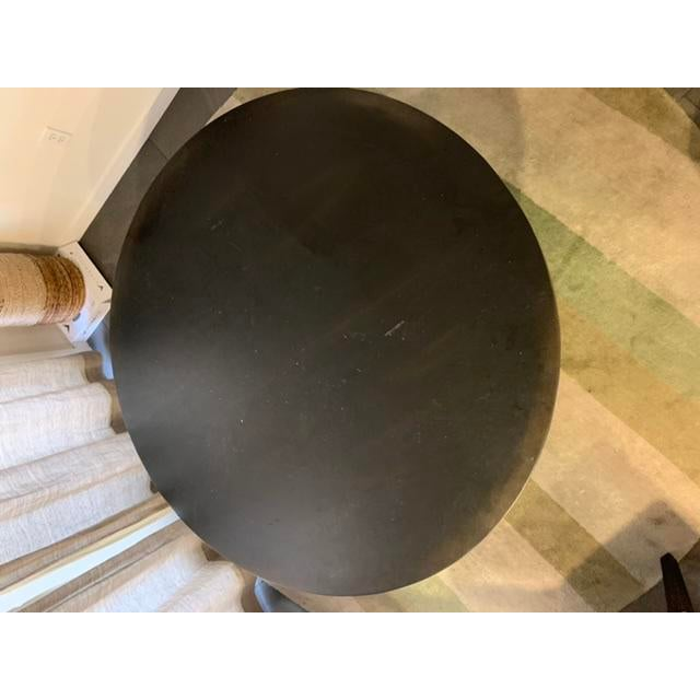 "Restoration Hardware 17th C. Monastery round dining table. Size: 48"" round table. Finish: Black Acacia"