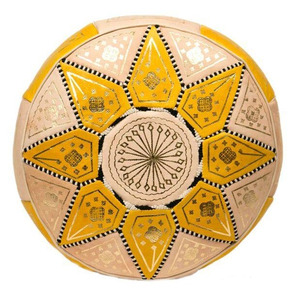 Yellow Marrakech Leather Pouf - Image 1 of 3