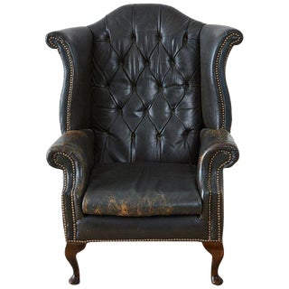 English Chesterfield Tufted Leather Wingback Library Chair For Sale