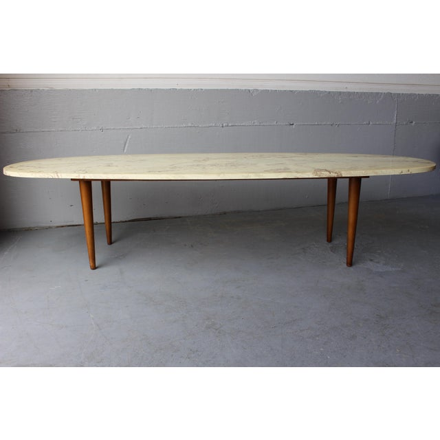 Mid Century Modern Walnut Travertine Coffee Table: Mid-Century Surfboard Travertine Coffee Table