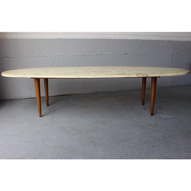 Reserved Mid Century Modern Lane Burl Wood Surfboard Coffee: Mid-Century Surfboard Travertine Coffee Table