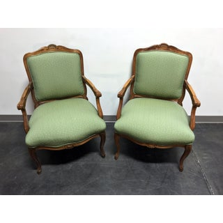 Vintage French Provincial Louis XV Style Bergere Arm Chairs by Sam Moore - Pair Preview