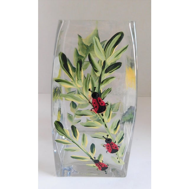Hand-Painted Vintage Flora & Fauna Glass Vase For Sale - Image 11 of 12