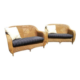 Palecek Vintage Mid Century Wicker Rattan Bamboo Sofas- Set of 2 For Sale