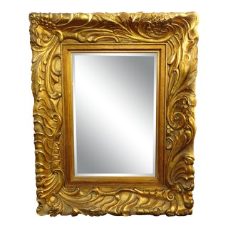 """Large 57""""Hx45"""" Vintage French Ornately Carved Gold Wall Mantle Beveled Mirror For Sale"""