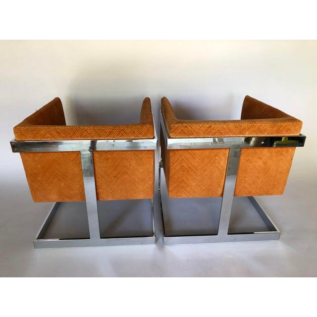Milo Baughman 1970s Mid-Century Modern Milo Baughman T-Back Chrome Lounge Chairs - a Pair For Sale - Image 4 of 12