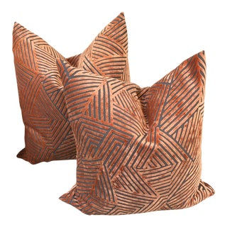 Art Deco Orange Maze Cut Velvet Pillows - a Pair