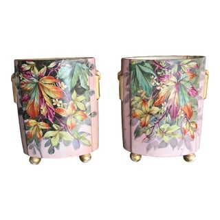 Vintage Hand Painted Urns - a Pair For Sale
