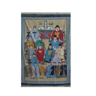 Chinese Large Vintage Canvas Color Ink Ancestors Painting Art For Sale