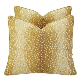 "Antelope Deer Fawn Spot Velvet Feather/Down Pillows 21"" X 18"" - Pair For Sale"