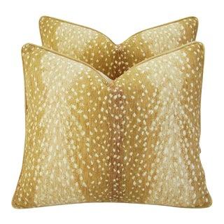 "Antelope Fawn Spot Velvet Feather/Down Pillows 21"" x 18"" - Pair"