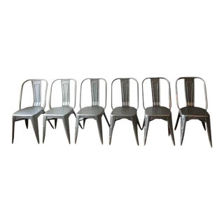 Tolix Style Metal Aluminum Chairs - Set of 6