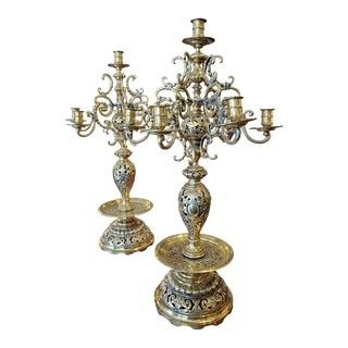 19th Century Russian Brass Candelabra Candleholders - a Pair For Sale