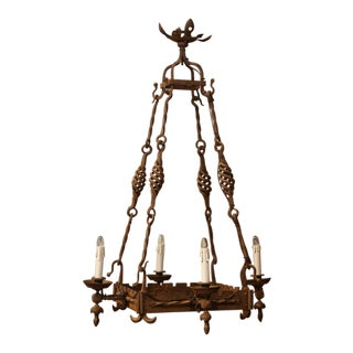 19th Century French Gothic Square Wrought Iron Four-Light Chandelier For Sale